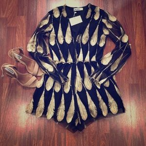 NWT Reverse Gold & Black Feather Romper